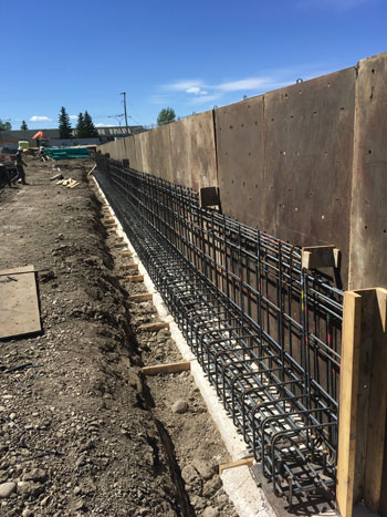 Photo of retaining wall construction